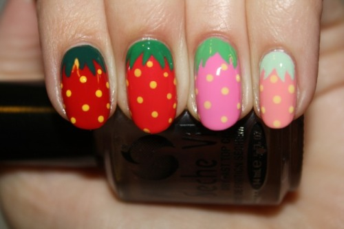 STRAWBERRY FEILDS FOREVER nail art by Polish You Pretty! Click the photo for the full tutorial!