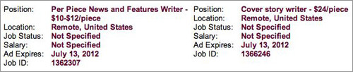 "Journalism Riches Over at at Journalism Jobs a company is looking for US-based journalists to write cover and feature stories that will be placed in the ""weekly, hyperlocal sections of a major metropolitan newspaper."" For your efforts: $24 for a ""cover story"", $10-$12 for ""news and features"". Via Journalism Jobs:  The job pays $24 per piece. Stories are two-source interviews on topics selected well in advance by our editorial team. Story lengths average 650 to 700 words, and each assignment requires the writer to include three hi-res photos from sources. An assignment editor will provide you with a story template and data to help write each piece. You contact sources, conduct interviews, mix in the data and write to spec.  If you're doing the math on those cover stories, that's three cents per word. We feel dirty too."