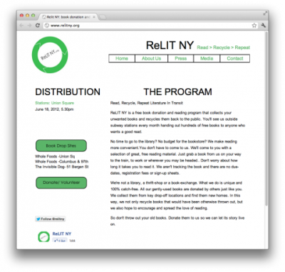 significobs:   ReLIT NY, a free reading program that collects your old, unwanted books and recycles them back to the public. Brook Drop Sites include Whole Foods at Union Square, and Columbus & 97th Street and The Invisible Dog, on 51 Bergen Street in Brooklyn! YAY! ReLIT NY is completely volunteer run and therefore gets two swissmiss thumbs up!  (via swissmiss | ReLIT NY)