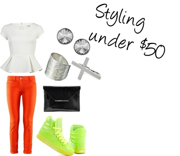 Styling under $50 by intoxicninja featuring cross jewelry  Cap sleeve shirt, £28Denim skinny jeans, $28Clutch handbag, $39Silver ring, $25Monsoon stud earrings, $18Cross jewelry, £7