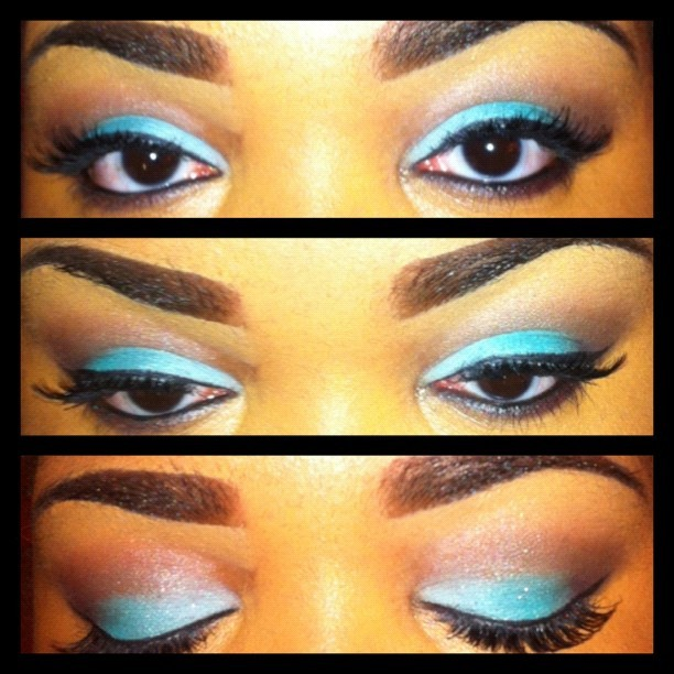 Today's eye makeup…teals and browns #makeup #eye makeup #my looks #eye shadow (Taken with Instagram)