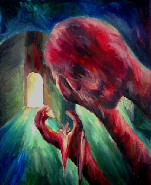 shining-through-dark:  Resignation (oil painting)