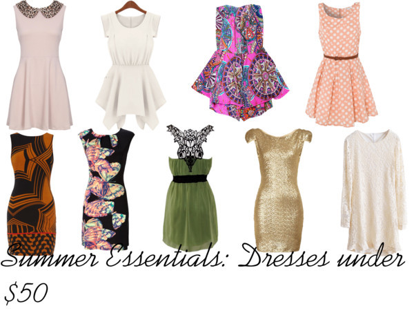 Summer Essentials: Dresses under $50 by intoxicninja featuring a white day dress  Wallis butterfly dress, $47White day dress, $49Gold cocktail dress, £20Strapless dress, $39Longsleeve dress, $39Green chiffon dress, $35Glamorous polka dot dress, £30Dorothy Perkins vintage black dress, $21Leopard print dress, £29