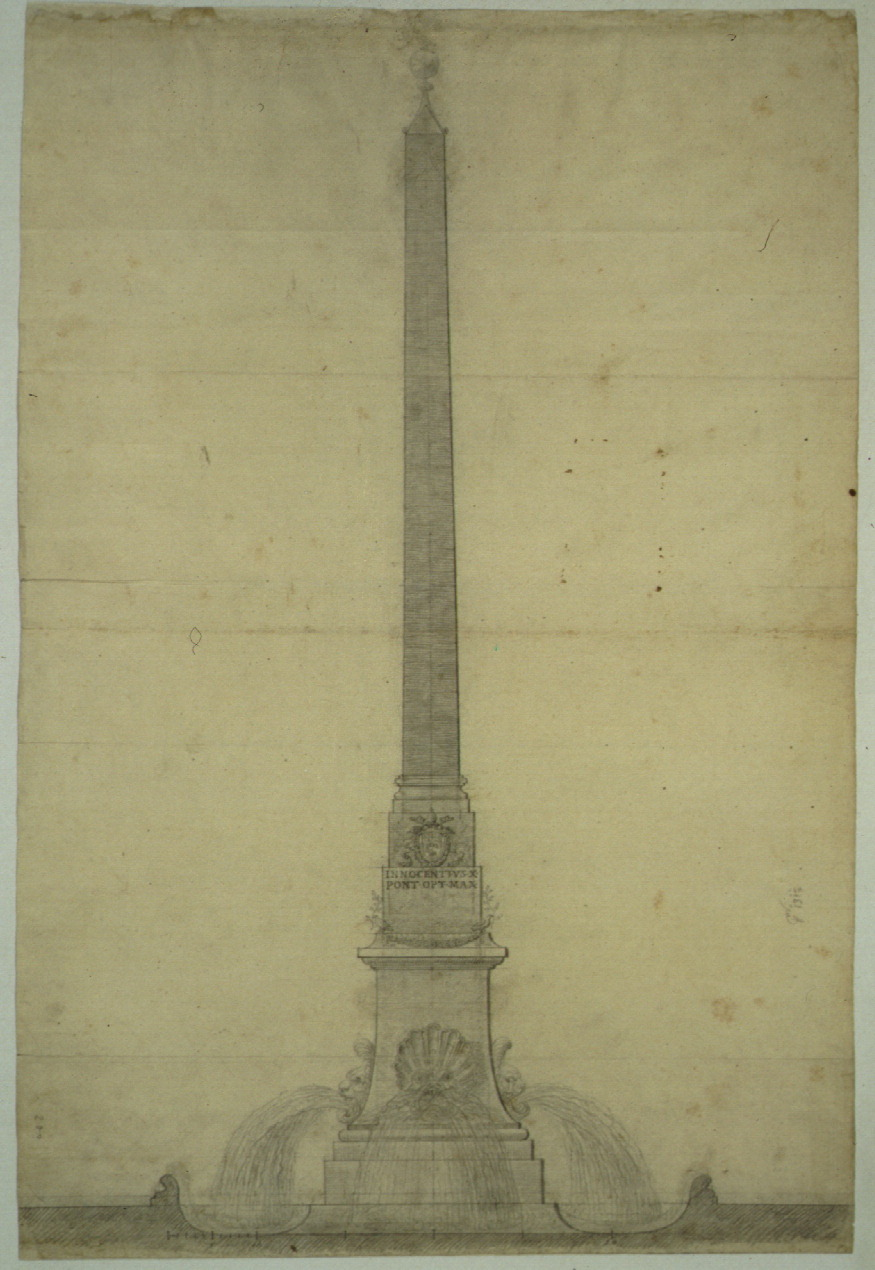 F. Borromini,  Design for Piazza Navona Another obelisk, found outside the city on the Appian Way, became the centerpiece of Baroque Rome's most spectacular space—the Piazza Navona. Borromini's lovely but plain design was rejected in favor of the splendid one by Bernini, one of his most astonishing creations.