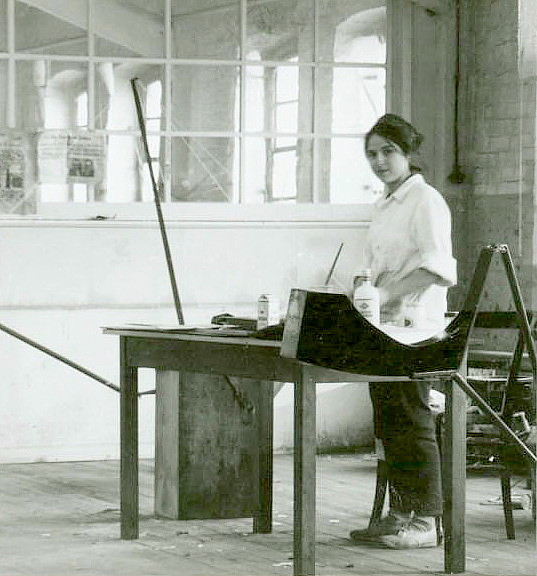 Eva Hesse in her Kettwig, Germany studio, 1964-65.