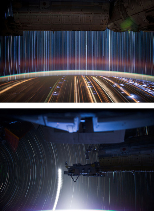 Astronaut Don Pettit takes multiple 30-second exposure photos from a Space Station (240 miles up in space) and combines them to create these amazing super-long exposure pictures of star trails. Super-long Exposure of Star Trails by Don Pettit