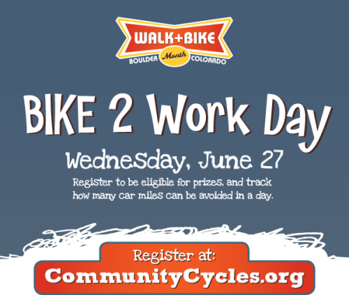 Have you registered for Bike to Work Day on Wednesday, June 27? Visit www.communitycycles.org now to sign up!