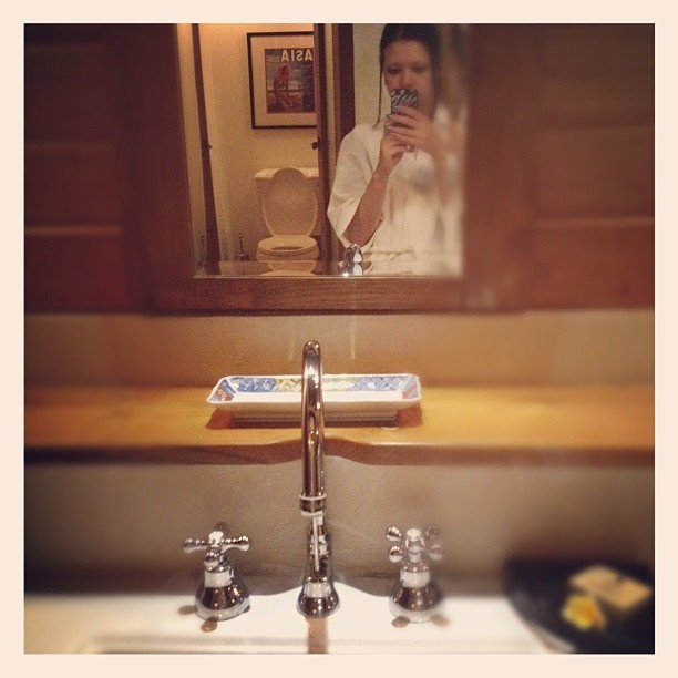 Swanky bathroom. Swanky toilet in the background of the reflection. #villa #bali  (Taken with Instagram)