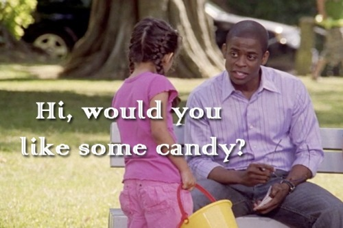 "idonthaveananswer:  Gus offering candy to random small children. Psych: 2x08: ""Rob-A-Bye Baby"""
