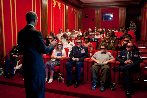 "COMING SOON: PRESIDENT OBAMA IN 3D!! (Obama hosts a screening of ""Men in Black 3"" at the White House in May. Photo by Pete Souza/White House)"