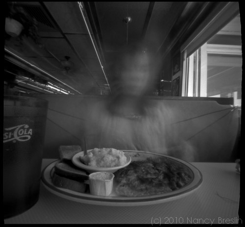 6-17-10.  Lunch at the Hollywood Diner, Dover, Delaware.  25 second pinhole exposure.