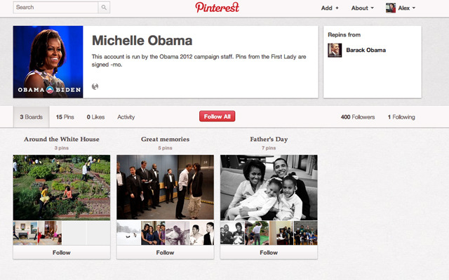Michelle Obama's brand new Pinterest page.