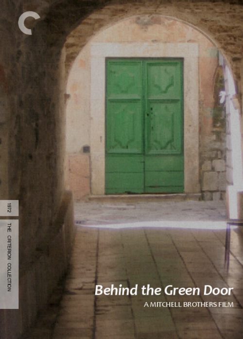 Fake Criterion for Behind the Green Door (1972) I am no designer, but this was a fun idea to play with. I think it is a decent play on how Criterion likes to take the titular image or overall theme from a film as a cover, rather than an actual or typical representation. BtGD is almost a film Criterion would look at, were it not so porny. Certainly more artsy than its more notorious contemporary, Deep Throat.