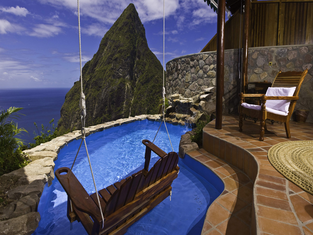 condenasttraveler:  17 Hotel Terraces with Unbelievable Views | Ladera, St. Lucia