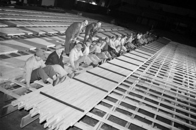 Installing bowling lanes at the Chicago Coliseum, 1955, Chicago.