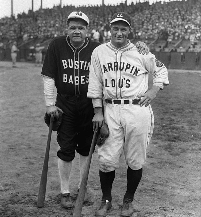 "Yankee stars Babe Ruth and Lou Gehrig pose in their ""Bustin' Babes"" and ""Larrupin Lous"" uniforms from their 1927 barnstorming tour. On this day in 1948, Babe Ruth made his last public appearance when the the Yankees retired his No. 3 jersey at a ceremony at Yankee Stadium. He would die two months later. (AP) GALLERY: Classic Photos of Babe Ruth"