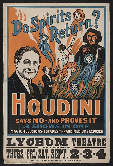 Later in his career, Harry Houdini was much more than a master magician, he was also a crusader against spiritual fraud, traveling the country and exposing mediums.  We've got an excerpt from his 1926 medium-hating autobiography A Magician Among the Spirits in our summer issue MAGIC SHOWS.  Subscribe now to receive MAGIC SHOWS, it's sure to sell out of bookstores!