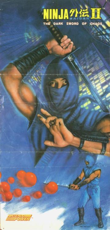 vgjunk:  Nintendo Power poster featuring Ninja Gaiden II: The Dark Sword of Chaos. Ryu Hayabusa's expertise in slicing giant tomatoes is truly a sight to behold.