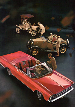 process-vision:  (foreground to background) 1966 Ford Galaxie 500 Convertible, 1930 Ford Model A Roadster, 1906 Ford Model N