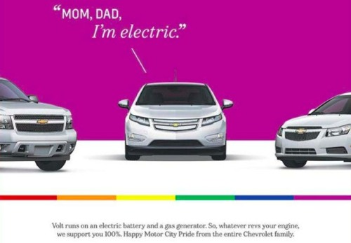 lgbtlaughs:  Chevy Volt comes out of the closet at Motor City Pride