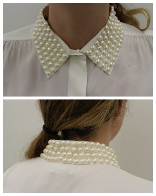 truebluemeandyou:  DIY Pretty Pearl Studded Collar Tutorial. Because these are either iron-on or studs attached with adhesive, this is a really easy DIY from stripes + Sequins here. *Links for all products (including the glue you should use and where to buy pearl studs) provided in the tutorial. I'm also thinking where else I could use iron-on pearl studs as embellishment.
