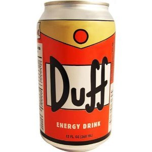 Duff Beer is from the Simpsons. It's fake. But someone makes Duff Energy Drink. For real.  (via AwesomeClaus.com)