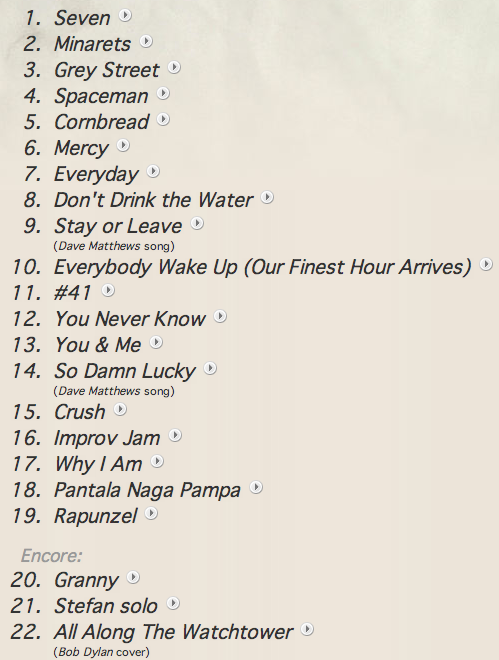 Last night's setlist. Perfect mix. #41, Granny, and Watchtower were definitely the best. Love ya Dave.