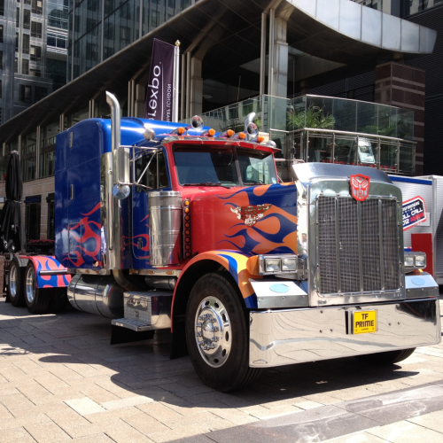 Optimus Prime checking out the financial situation at Canary Wharf. Definitely more handsome off screen…