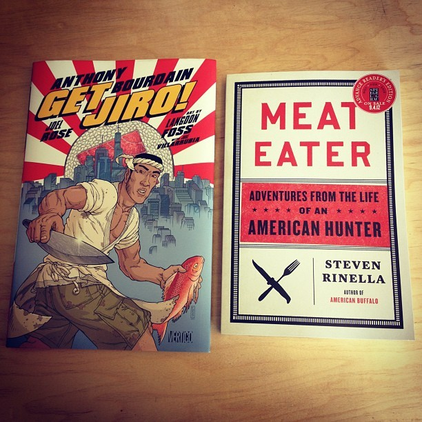 Excited to dig into these! #GetJiro by @bourdain & #MeatEater by @stevenrinella (Taken with Instagram at ZPZHQ)