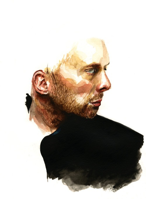 artchipelandyou:  Jamie Avis | on Tumblr - Thom Yorke. Watercolour, 9 x 12 inches Born in Brighton and dwelling in the Yorkshire Dales, Jamie is a self-taught artist and illustrator interested in exploring sociological patterns, present trends and fashion. 3rd year student of BA Visual Communication at Leeds College of Art, Jamie is available to work by commission or collaboration, and is always enthusiastic about exciting new projects, big or small.