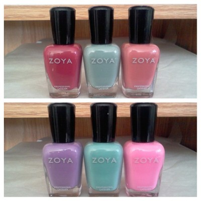 New goodies! I cashed in my Share The Love points for a buy 3 get 3 code! Zoya is seriously my favorite at the moment! L-R: Bianca, Bevin, Penelope, Malia, Wednesday, Shelby. (Taken with Instagram)
