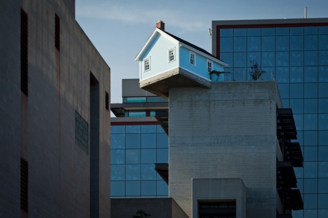laughingsquid:  Fallen Star, A House on the Roof of a 7 Story Building at UC San Diego