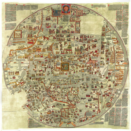 Ebstorf Mappa Mundi, a remarkable early map of the world from 1235. Also see the history of maps as propaganda and art, and this collection of early maps of the universe.