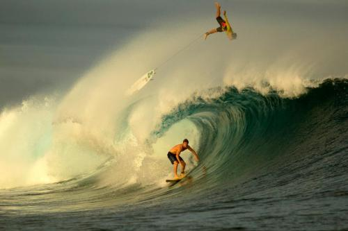 fryday13th:  @ 2012 Volcom Fiji ProWith Gabriel Medina flying and Dean Bowen surfin'