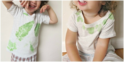 "DIY Leaf Print Shirt Tutorial. I did this as a kid on fabric and as ""art"" on construction paper. Tutorial from Jill from Homemade by Jill at Skip to my Lou here. *First seen at craftzine here."