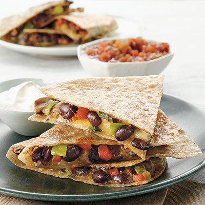 Gluten-free Portobello and Black Bean Quesadillas (Remember to check for gluten in light balsamic vinaigrette and fresh salsa.)