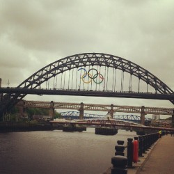Half-finished Olympic rings on the Tyne Bridge, Newcastle.
