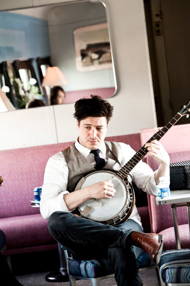 Marcus Mumford of Mumford & Sons on the 2011 Railroad Revival Tour. Photo copyright Julie Ling.