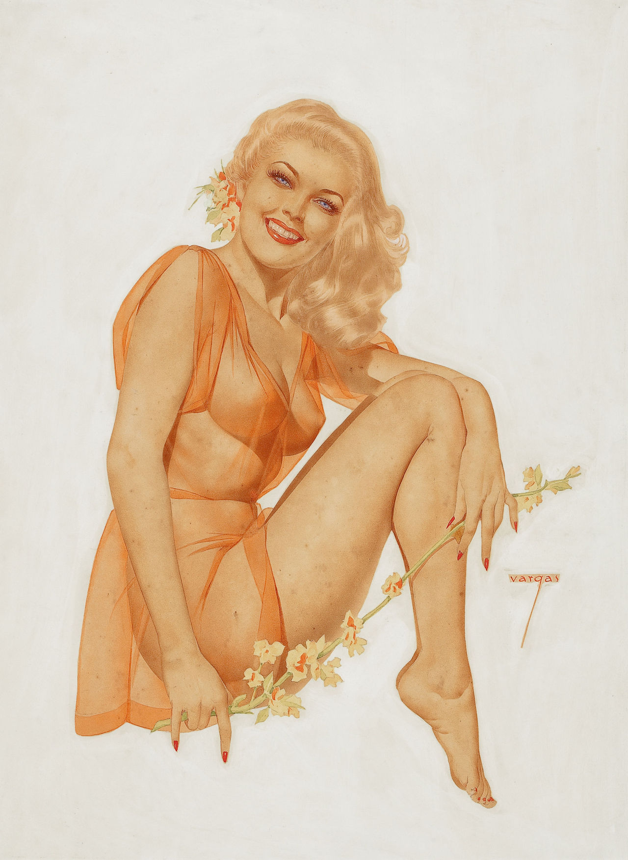 Alberto Vargas Blonde with Roses, playing card pin up, 1940s