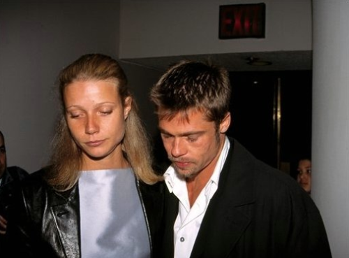Pitt and Paltrow looking really really sad at the 1995 Hamlet opening.