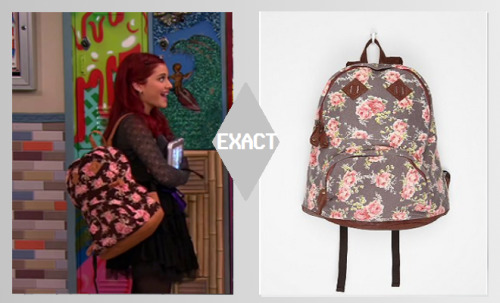 Ariana Grande spotted wearing a Urban Outfitters Floral Backpack on the set of Victorious