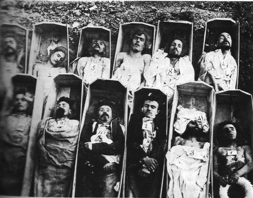 legrandcirque:  Andre-Adolphe-Eugene Disderi, Communards in their coffins, Paris, May 1871. Source: University of Texas, Austin