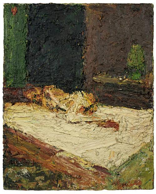 poboh:  E. O. W. Nude on Bed (detail), 1961, Frank Auerbach.
