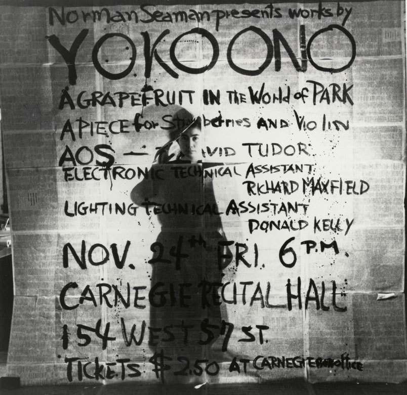 Poster for Works by Yoko Ono performance, Carnegie Hall, 1961, © Yoko Ono. Photograph George Maciunas