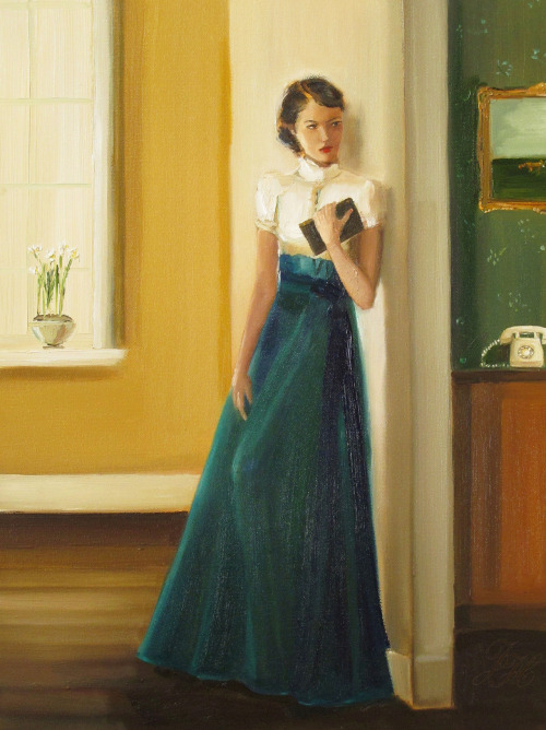"books0977:  Catherine Listens To The Ominous Ring. Janet Hill. Oil on canvas. Hill's work is both elegant, yet whimsical, often with an underlying narrative that instantly captures the imagination.  ""There's nothing quite like the ring of a rotary phone to send chills up my spine.  I attribute it to a lot of older horror and suspense films."" — Janet Hill"