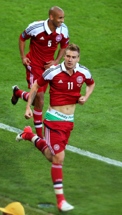 Oh Bendtner, your drawers is showing!