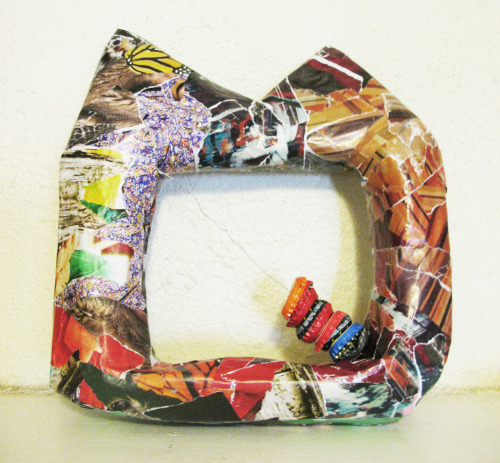 """Cat Tambourine"" Eco Art made from 100% reused materials. Made by an artist in a small intentional community that has a goal of not producing ANY trash (or recycling) at all… https://www.etsy.com/listing/102057435/cat-tambourine-eco-art"