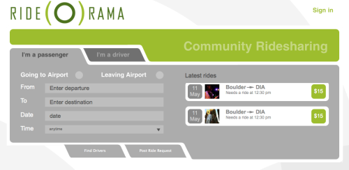 Try RIDE(O)RAMA - a new online, ridesharing community focused on getting to and from Denver International Airport (DIA)!