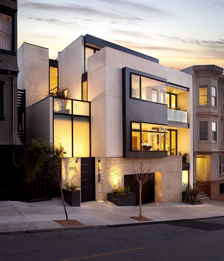 "yeaitspretentious:  Russian Hill Residence by John Maniscalco Architecture ""This certified LEED Platinum new four-story home establishes an understated but dignified urban presence on an atypically wide San Francisco site. A transitional two-story glass-walled entry hall draws users to an airy and open living level. An increasingly light stair element transitions from floor to floor ultimately arriving at a roof deck enjoying panoramic views."" see the rest here."