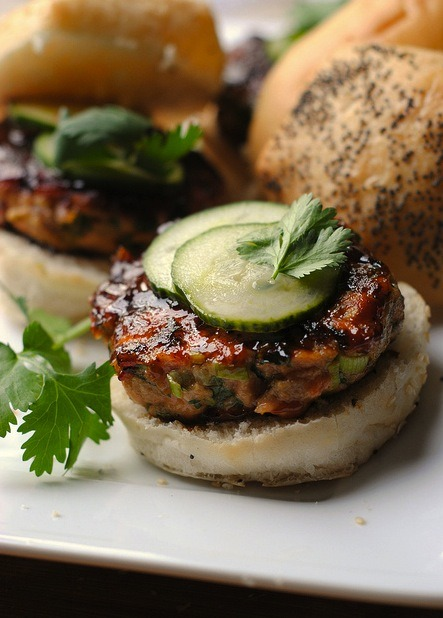 These Hoisin Glazed Salmon Burgers look just as tasty as our Salmon Burgers with Dill Mustard!
